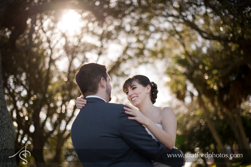 Bride and groom share beautiful picture outdoor